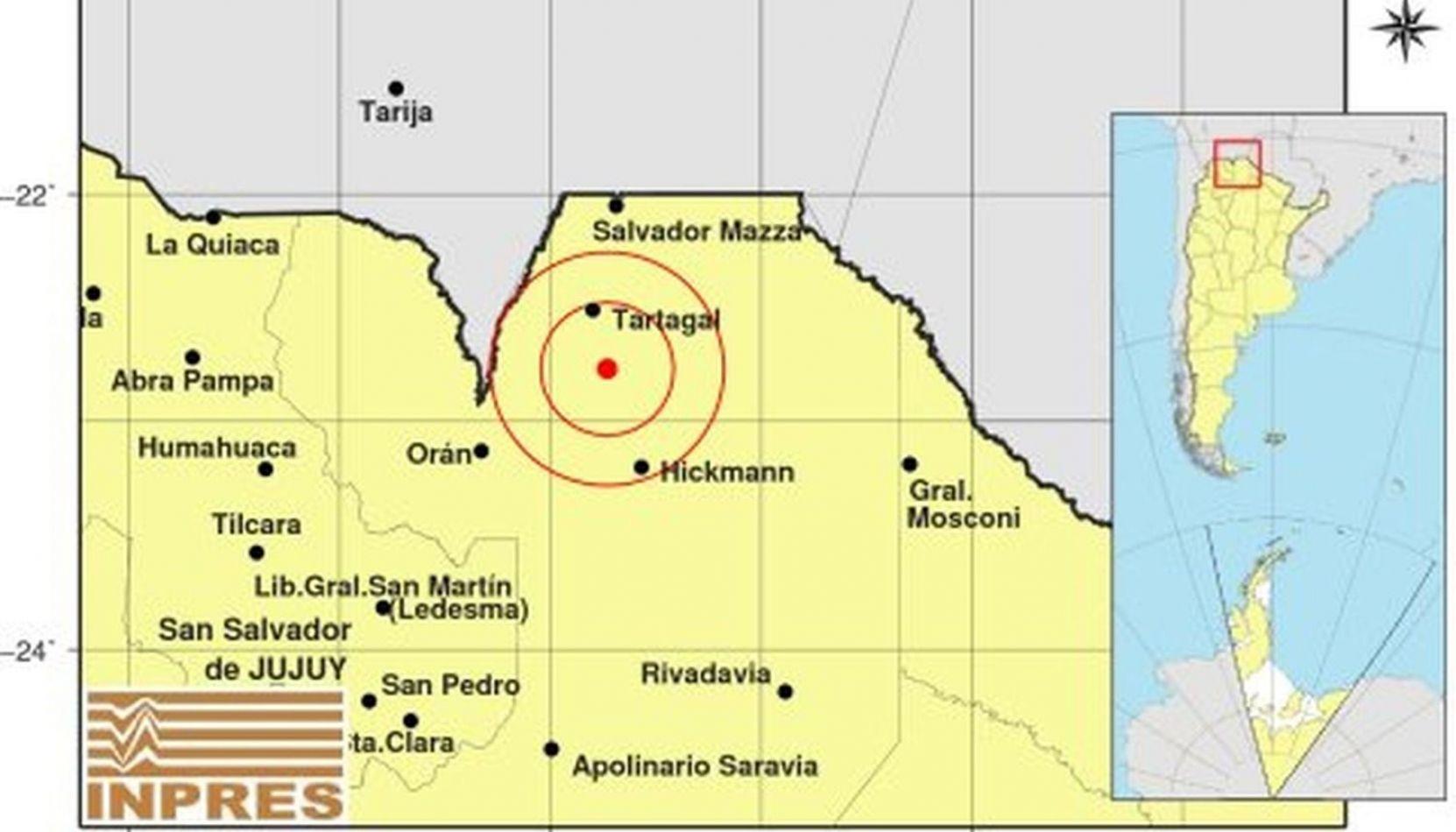 Un sismo de casi 5º en la escala de Richter sacudió esta madrugada a Tartagal